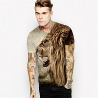 Wholesale Summer casual short sleeved T shirt men D printing Figure lion