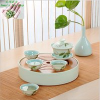 bamboo bowls - Hot Sale with High quality year ceramic tea sets portable travel round home tea bowl with cover bamboo tea tray