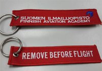 academy ring - Suomen Ilmailluopisto Finnish Aviation Academy Remove Before Flight Custom Embroidery Keychain With Metal Ring