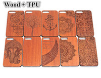 bamboo wood carving - Natural Rosewood Wood Engraved Carved Wooden Bamboo Soft TPU Case For iPhone S SE S Plus Samsung Galaxy S5 S6 S7 Edge