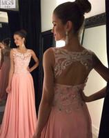 apple hu - Pink Beading Fashion Prom dresses A line Chiffon Scoop Open back Vestido de Festa Robe de Soiree Long Women Evening gowns hu
