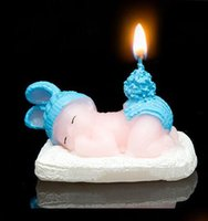 Wholesale 2016 hot sale Birthday candles cute sleeping baby blue candles