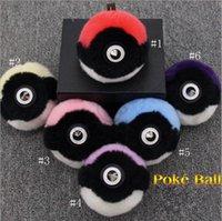bag design games - Pokeball Keychain With Rabbit Fur Poke Ball Bag Charm Fashion Women handbag Bag Fur pom pom Keyring designs LJJO730