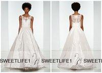 amsale dress - Floor Length A Line Taffeta and Lace Amsale Wedding Dresses with Scoop Neckline Gorgeous Appliques Vintage Zipper Back Bridal Gowns