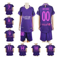 barcelona soccer gifts - Barcelona jerseys Kids boys kits set home Away purple Messi Suarez soccer jerseys youth best gift todllers football shirt