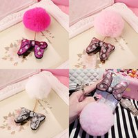 Wholesale Mickey Minnie Glitter Bowknot with Rabbit Fur Ball Pendant Cell Phone Straps Charms Cellphone Accessories Decorartion for Mobile Phones Case
