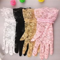 Cheap Fashion Women Bridal Gloves Wedding Lace Gloves Tulle Flowers Hollow Short Ruffles Party Glove Car Drive Sun Protection Hand Wear ZJ-G01