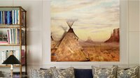 american west art - Indian landscape native American decor west scenry vintage style canvas art painting stretcher frams ready to hang