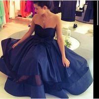 Cheap 2016 Saudi Arabia Dubai Sweetheart Bow Pleat Satin A-Line Arabic Evening Dress Vestido Longo Navy Blue Tea Length Prom Dress Custom made