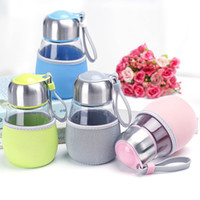 Wholesale 400ml Students Penguin Glass Transparent pot bellied cups with a filter with cups along with the hot bedding bag stainless steel COVER