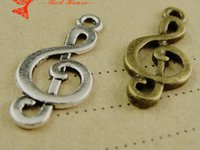 Wholesale A1984 MM Antique Bronze Retro music symbol charm pendant beads retro jewelry DIY jewelry cheap bulk musical note charm