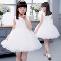 jumper dress - 6pcs New style summer Baby girl white Embroidery princess dresses fashion kids sleeveless wedding Ball Gown jumper skirt for5 Y