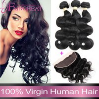 hair color - Body Wave Brazilian Virgin Hair With Lace Frontal Closure Bundles Human Hair Weaves With Lace Frontal Closure A Hair Bundles with Closure