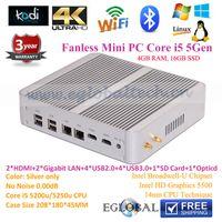 aluminum htpc case - Fanless Powerful Mini Desktop PC Aluminum alloy case i5 u Windows dual lan COM RS232 HDMI USB HDMI htpc