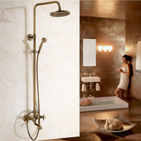 Wholesale Luxury Antique Brass rain shower faucet set bath Shower Faucet with inch Shower Head Hand Shower