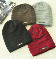 Wholesale 2016 new men autumn and winter solid color wool hats designer wild couple warm knitting hats MZ Christmas gift for men
