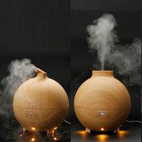 Wholesale 500ml Essential Oil Diffuser Aroma Diffuser Car Ultrasonic Humidifier Car Mist Maker Aromatherapy Air Purifier Woodgrain EU US