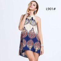 animal print halter - 2016 New Fashion Women Short Casual Dresses Halter Sleeveless Cotton Printing Flower Plus Size S XXL Colors