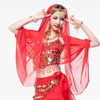 sari - 8 Colors Indian Dance Clothes Women Accessories Chiffon Veil Gold Chain with Rhinestone Belly Dance Headpiece Indian Sari