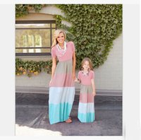 Wholesale Mother Daughter Dresses European style Mom and Me Striped Matching Dress Mother and Maughter Clothes for Party