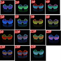 100pcs 15 COULEURS El Fil Mode Neon LED Light Up Shutter forme Glow Lunettes Rave Costume Party DJ SunGlasses flash D804