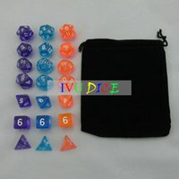 Wholesale 18pcs DND Table BOARD GAME Dungeons Dragons number dice Color Transparent BLUE PURPLE ORANGE Party Children dices WITH BAG IVU