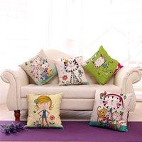 al por mayor pintado a mano dibujos animados los niños-Mano fuente de la fábrica pintado del gato de la historieta linda chica de algodón de lino saque la funda de almohada Home Kids Room Decor Cojín 240532