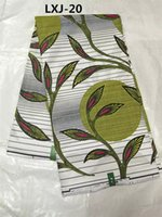 Wholesale white and green african real wax printing cotton block fabric best quality for sewing and crafts yard LXJ