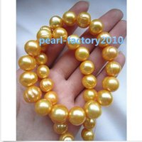 Wholesale new natural quot AAA MM SOUTH SEA golden PEARL NECKLACE K GOLD CLASP
