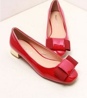 adhesive disc - 2016 spring and summer Japan and South Korea ladies wild butterfly disc knot patent leather square head rough with the wedding shoes