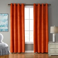 Wholesale Solid Blackout Bright Orange Color Curtain with ring for living room kids room bedroom windows