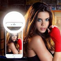 Clip-on círculo LED selfie anillo de la lámpara USB carga de la cámara del teléfono flash auto-temporizador luz del selfie del proyector para el iphone 7 más s8 s7 ipad