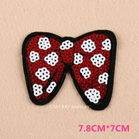 Wholesale New Fashion Sequins Bowknot Patch Embroidered Iron On Patches For Clothes DIY Accessory Felt Applique Gift A242
