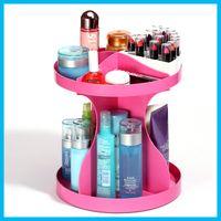 Wholesale 360 Degree Rotatable Cosmetics Plastic Makeup Storage Two Layer Multifunctional Makeup Cosmetic Organizer