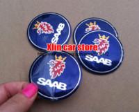 auto alloy wheels - 4pcs mm SAAB logo car emblem Wheel Center Hub sticker Auto Wheel badge Decals Car styling