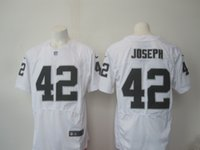 Wholesale 42 Joseph New Draft Hot Mens Elite Raiders White Football Jerseys Stitched Name Number Free Drop Shipping Mix order