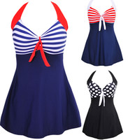 beachwear dresses - New Sexy Stripe Padded Halter Skirt Swimwear Women One Piece Swimsuit Beachwear Swim dress Plus size M XL