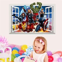 Wholesale Carton Wall Stickers - Wall Stickers Window Carton The Avengers 3D View Removable Wall Stickers Art Vinyl Decal Kids Baby Nursery Room Decor Mural