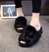 Wholesale Christmas gifts hot muffler thick bottom plush shoes female autumn and winter open toed toe shaped rabbit fur warm slippers
