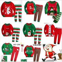 Wholesale Kids Babys Pajamas Long Sleeve Tshirt Pant suit Winter Christmas Deer Santa Printing Sleepwear Nightclothes For boys girls Kids clothing