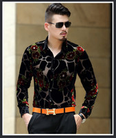 baroque prints - 2016 Mens See Through Shirts Vintage Baroque Shirts Mens Flower Silk Transparent Dress Shirts Leopard Print Camiseta Masculina