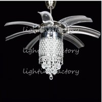 Wholesale Stealth LED fan lights with crystal wings off will hide modern minimalist restaurant dining cafe