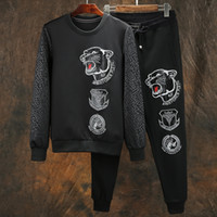 Wholesale New fashion mens black joggers suits men full sleeve pieces baseball pants suits men sport sets white embroidery tiger clothes M XL