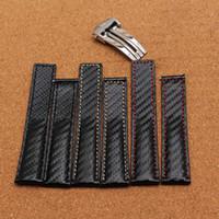 Precio de Carbono especial-Nuevo negro especial de la pulsera hecha a mano con la línea blanca negra roja cosió los accesorios del reloj de la correa del patrón de la fibra del carbón del cuero genuino