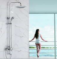 big bathtubs - Chrome Finished Wall Mount Big Rain Shower Set Mixer Faucet Bathroom Adjust Height Handheld Shower Bathtub Mixer
