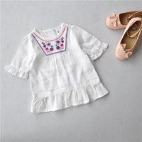 Wholesale new summer children girls pure cotton embroidey gilrs blouses kids tops bloses girls wear
