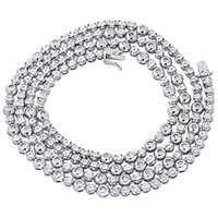 bezel necklace white gold - Sterling Silver Mens Round Diamond Rosary Bezel Chain Row quot Necklace Ct