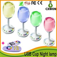 Wholesale LED Cup Night Light W USB Charging Cord LED Wine Light warm white White RGB Mi Light Wine Cup Night Lamp