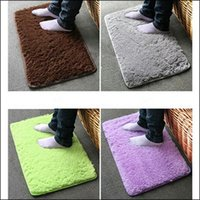 Wholesale BY DHL Plush Velvet Slip Mats And Dust Doormat Absorbent Bathroom Floor Rug Washable Can Be Cleaned Bath Floor Rugs