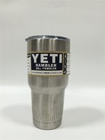 Wholesale Yeti Original Tagboard clear lid Double Wall Bilayer kitchen grade Stainless Steel Rambler Tumbler oz Vehicle Mug Vacuum Insulated